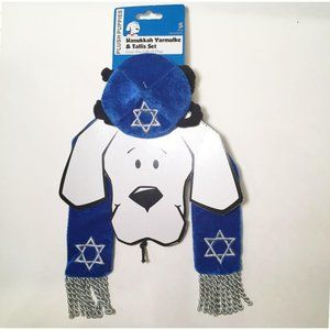 New Dog Apparel Hanukkah Yarmulke and Tallis Set J